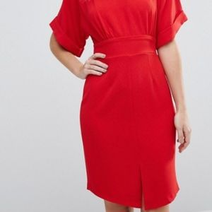 Kimono Sleeve Midi Dress w Tie Back & Split Front
